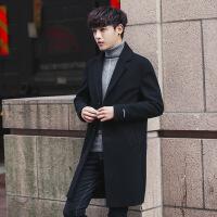 秋冬新款男士风衣潮流韩版中长款毛呢大衣男修身帅气呢子男装外套