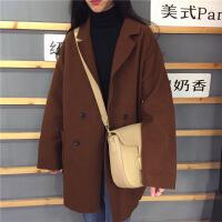 原宿毛呢外套女秋冬新款中长款韩版宽松显瘦学生长袖呢子大衣 均码