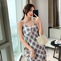 2019夏新款女装裙子中长款性感露背格纹吊带连衣裙派对裙打底裙