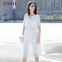 AMII[极简主义]春夏纯色圆领口袋松紧系带大码连衣裙11680484