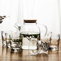 【�豳u新品】玻璃杯子家用透明�o�w喝水杯牛奶杯果汁杯客�d茶杯6只套�b 初雪1.8L++楠竹�P