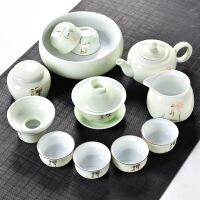 【好货】功夫茶具套装陶瓷盖碗茶杯茶壶茶海整套茶具手绘青瓷家用