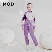 MQD童装女童套装2019秋装新款儿童撞色运动条纹立领2件套洋气女
