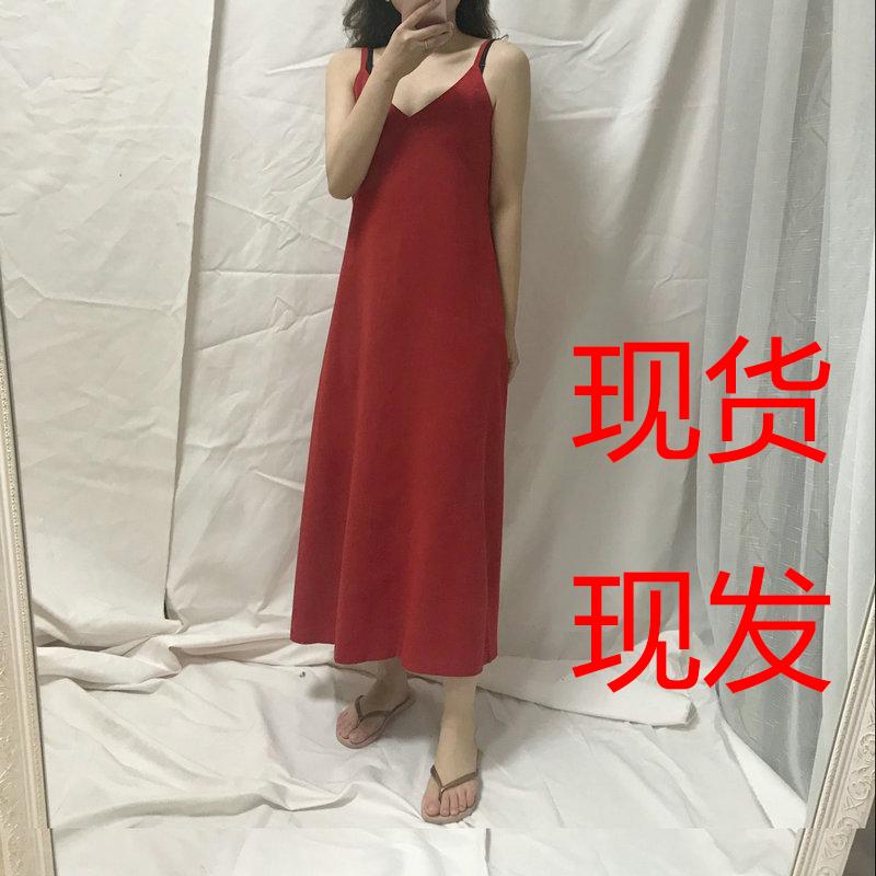 大红色V领长款内搭打底雪纺吊带裙A字长款连衣裙沙滩度假长裙子女