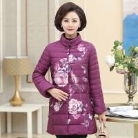 中老年轻薄羽绒女中长款妈妈冬装外套民族风时尚印花棉袄棉衣