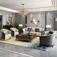 【热卖新品】SINTHE新中式实木沙发乌金木后现代简约客厅美式轻奢真皮沙发组合 组合