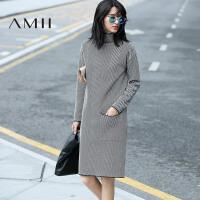 AMII[极简主义]秋冬装高领条纹针织毛衣长袖连衣裙女11672488