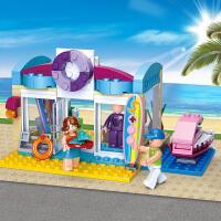 快乐小鲁班拼装积木儿童玩具 女孩积木玩具6-12岁以上 泳具商店抖音
