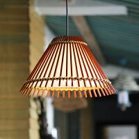 田园竹灯吊灯餐厅火锅店麻将灯酒吧过道竹编灯东南亚吊灯 含4W暖黄LED灯泡