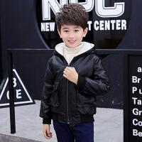 男童外套儿童皮衣中大童2-15岁加绒加厚秋冬韩版机车皮夹克潮