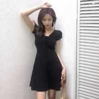裙子女2019春装新款韩版chic修身V领绑带a字小黑裙高腰显瘦连衣裙