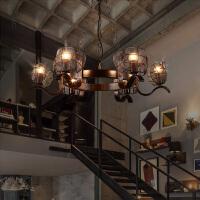 loft工业风吊灯客厅餐馆吧台工程装饰复古怀旧主题酒吧网咖铁艺灯 12头