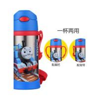 托马斯和朋友真空保温水壶380ML带吸管背带手柄保温杯男孩儿童宝宝玩具