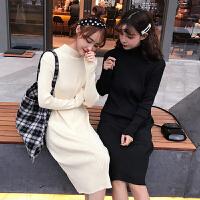 针织打底连衣裙秋冬女装新款韩版配大衣的中长裙子修身长袖桔梗裙