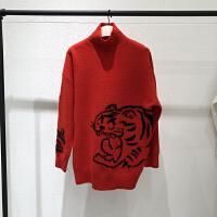 2018冬季新品虎头字母高领宽松长袖毛针织衫毛衣女