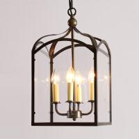 铁艺美式乡村吊灯 创意餐厅走廊过道楼梯间复古玻璃灯具 预售 哑黑拉丝