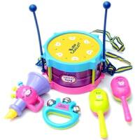 儿童欢乐乐器套装5件装腰鼓沙锤号子手摇铃铛组合宝宝儿童音乐玩具 欢乐鼓套装 .