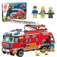 拼装玩具启蒙积木消防车火警车男生6-7-8-10岁小孩子学生智力拼图