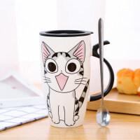 创意陶瓷杯大容量水杯马克杯简约情侣杯子带盖勺咖啡杯牛奶杯茶杯