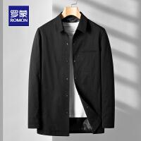【6.15-6.20预估到手价:154】罗蒙男士中长款夹克2021春季新款纯色翻领外套中青年商务休闲上衣
