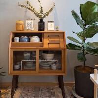 北欧创意玻璃餐边柜简约实木茶水柜现代沙发边柜储物柜玄关柜碗柜 双门