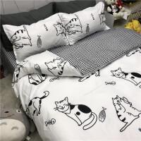 小猫咪被套四件套床上用品ins卡通风学生宿舍单人床单三件套1.5米