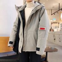 冬装新款港风潮时尚男士工装棉衣连帽保暖外套 灰色 M