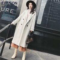 【全场1件3折 到手价:216】衣品天成毛呢外套女2018冬装新款纯色中长款加厚风衣式呢子外套潮