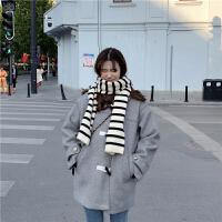 秋冬女装新款韩版宽松学生百搭牛角扣呢子风衣大衣中长款毛呢外套 均码