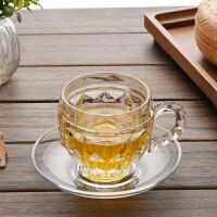 简约透明玻璃杯子带把咖啡杯套装创意耐热玻璃茶具下午茶杯欧式