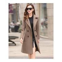 毛呢外套女时尚气质中长款毛呢大衣女秋冬新款修身显瘦收腰女装