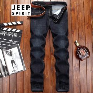 吉普JEEP牛仔长裤男宽松中腰直筒蓝色牛仔裤子春夏新品薄款男士牛仔裤