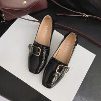 秋季新款英伦风女士高跟鞋粗跟方头单鞋复古中跟小皮鞋潮