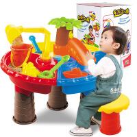 儿童沙滩玩具车套装沙滩桌宝宝玩沙挖沙漏大号铲子戏水洗澡决明子
