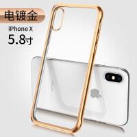 苹果X手机壳iPhoneXsMax全包防摔iPhoneX透明硅胶Xs Max新款iphones气囊i 苹果X [电镀金]