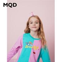 MQD童装女童T恤2020春季新款儿童拼接字母卡通T恤撞色鸳鸯袖上衣