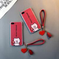 卡通猪款iphone6plus手机壳苹果红色Xs max情侣7挂绳8女XR蚕丝磨砂pone可爱防摔8p个性潮保护套