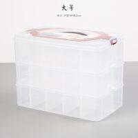分装手账胶带收纳盒三层加厚耐磨透明塑料盒配件盒手帐文具和纸胶带盒子收纳盒箱