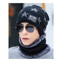 帽子男士冬季保暖针织帽冬天青年套头韩版护耳帽加绒棉帽潮毛线帽 均码有弹性(收藏送口罩)