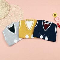 童装宝宝中小童V领毛线马甲针织儿童毛衣背心
