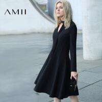 【AMII 超级品牌日】AMII[极简主义]冬装新品纯色流线分割显瘦抓绒连衣裙11672180