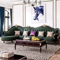 【好店】美式轻奢真皮沙发组合后现代皮艺客厅 欧式简约整装实木转角 真皮沙发全套 组合
