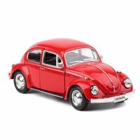 两款 奔驰保时捷兰博基尼大众回力双开门合金汽车模型玩具车 磨砂红 甲壳虫红色盒装
