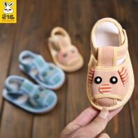 1-3岁婴儿学步鞋软底鞋男宝宝千层底包头布鞋儿童手工布凉鞋