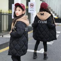 女童棉衣新款中长款女孩洋气冬季儿童棉袄韩版中大童外套 黑色 110码(建议100-105cm)