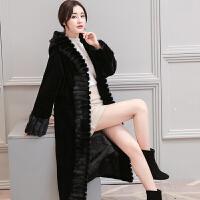 羊剪绒大衣女新款2018中长款连帽一体冬季女士皮草外套显瘦潮