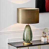 灯饰台灯后现代简约美式卧室床头灯琉璃创意时尚灯具书房客厅灯 灰绿色+青古闪金 D400*H640 其他
