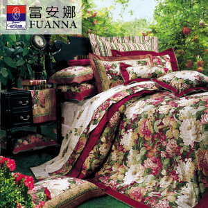 [当当自营]富安娜家纺纯棉四件套1.5米1.8米床印花套件 塞纳舞曲 红色 1.8m