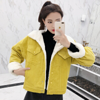工装网红外套女装2018秋冬装新款韩版加厚羊羔毛上衣女冬短款夹克 X