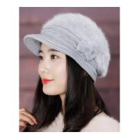 帽子女冬天韩版百搭时尚针织毛线帽潮冬季保暖英伦贝雷帽兔毛冬帽 均码有弹力